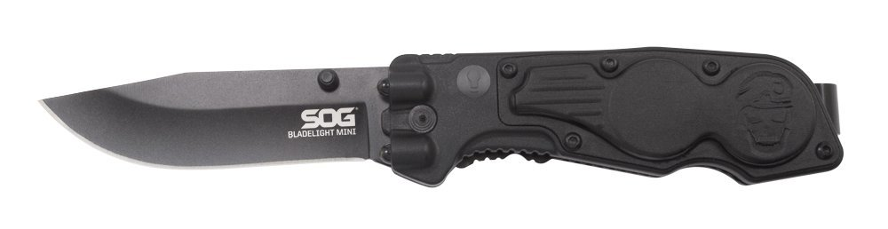 SOG BladeLight Mini Folding Knife w/ Light BLT61-CP - Built-in 4 LEDs, Hardcased Black, Aluminum & GRN Handle, 3'' Blade