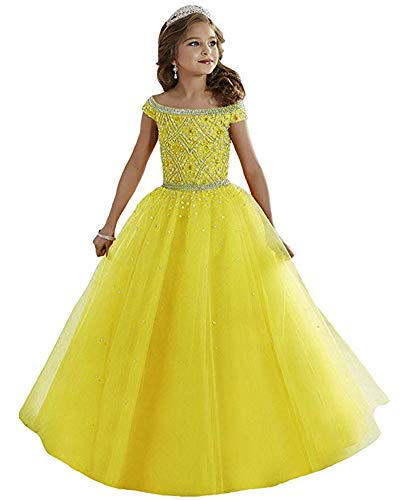 Bateau Floor - Zhiban Girls' Bateau Crystal Floor Length Flower Girl Pageant Dresses US 16 Yellow