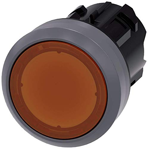 Siemens 3SU10310AB000AA0 Illuminated Pushbutton, Plastic with Metal Front Ring, IP66, IP67, IP69K Protection Rating, Matte Metal, 22mm, Amber