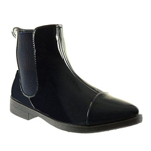 Angkorly - Zapatillas de Moda Botines chelsea boots cavalier botas de guma de lluvia mujer patentes elástico Talón Tacón ancho 3 CM Azul