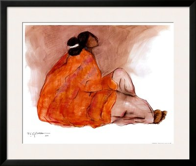 Seated Woman Framed Art Poster Print by R. C. Gorman