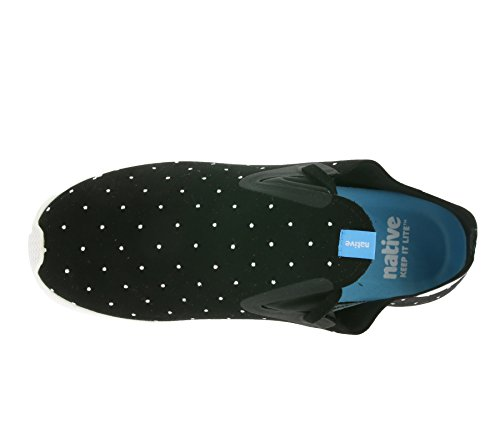 Native unisex Apollo Moc Mode Sneaker. Jiffy Blk / Shell Weiß / Polka Dot