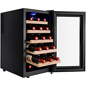 AKDY 18 Bottle Single Zone Thermoelectric Freestanding Wine Cooler Cellar Chiller Refrigerator Fridge Quiet Operation