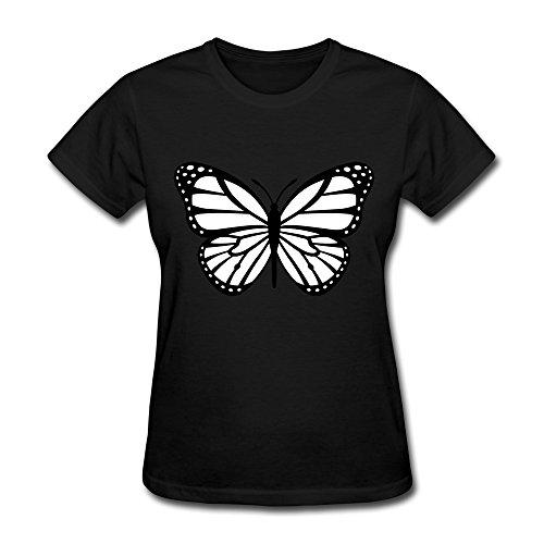 Sihan Monarch Butterfly Black White Women's Fashion Tshirts Size L Black