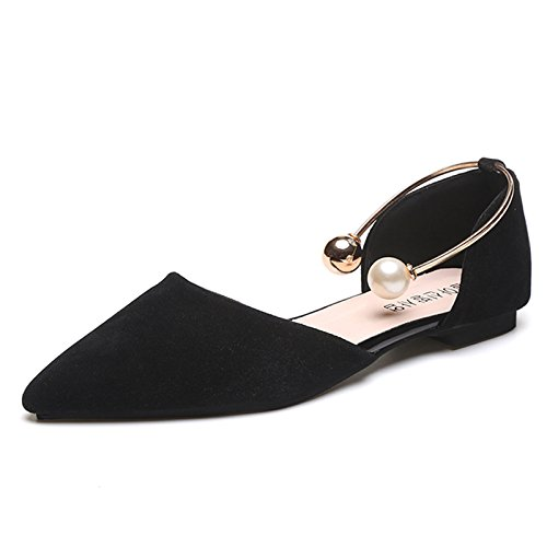 Women Ladies New Fashion Pointed Toe Ballet Flats With Artificial Pearl Ankle Back Strap Faux Suede Ballerina Pumps Shoes Loafers Spring Summer Black Y8pCWSUo