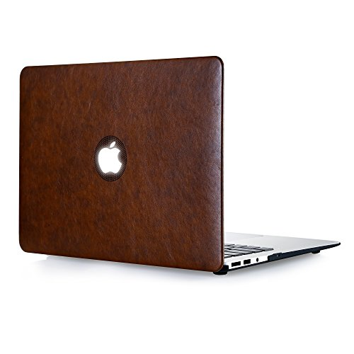 TJFEC PU Leather Coated Hard Case for MacBook Pro 13 inch with Retina Display Model A1425 and A1502 - Brown (Macbook Pro Case 13 Leather)