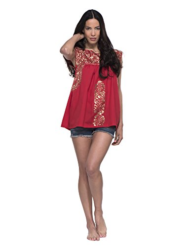 SANTA MARGUERITE Scarlet Embroidered Top - Red by SANTA MARGUERITE