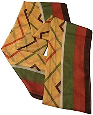 Womens Chevron Stripe Print Pashmina Scarf Shawl Wrap Orange White Blue Green