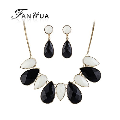 GLucky Joias Collares Turkish Perfume Women Imitation Gemstone Jewelry Sets Black White statement necklace and Water Drop Earrings