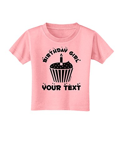 (TooLoud Personalized Birthday Girl Cupcake -Customizable- Name Toddler T-Shirt - Candy Pink - 2T)