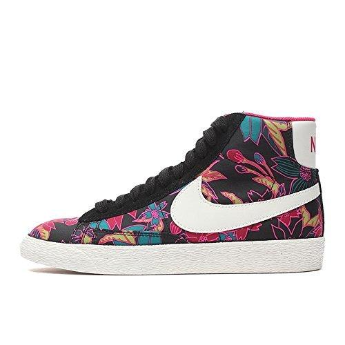 NIKE Womens Blazer Mid Textile Print Trainers 725084 Sneakers Shoes (UK 6 US 8.5 EU 40, Black sail Pink Force 002)
