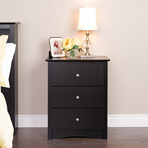 home, kitchen, furniture, bedroom furniture,  nightstands 2 discount Prepac Sonoma Nightstand, Tall 3-Drawer, Black in USA