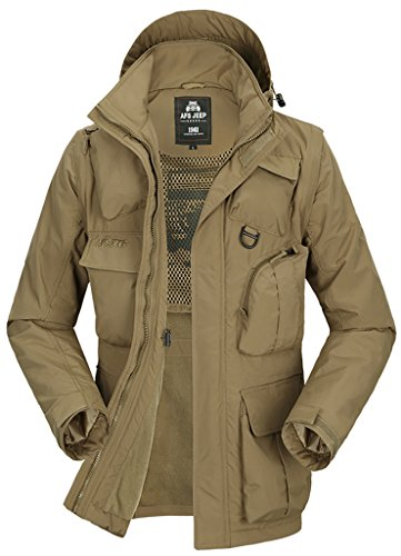 QZUnique Men's Big&Tall Cotton-Padded Jacket Hooded Coat With Detachable Sleeves Khaki 2XL (By Mens Clothing Sold Amazon)