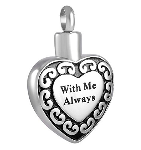 """With Me Always Heart"" Cremation Urn Jewelry, Stainless Steel Pendant Necklace for Men and Women Keepsake"