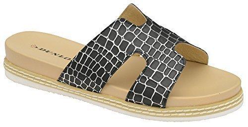Dunlop Mujer Memorey Foam Casual Confort Sin Cordones Cocodrilo Zapatos Sandalia Negro