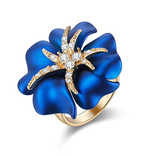 Carfeny Women Jewelry Gold Plated Big Blue Rose Flower Fashion Cocktail Rings for Women Lady Girls (7)