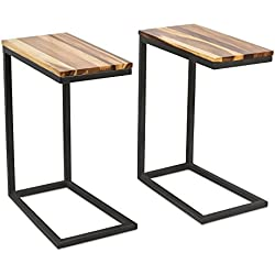 BirdRock Home Acacia Wood TV Tray Side Table | Set of 2 | Industrial Design | Natural Wood Bed Sofa Snack End Table