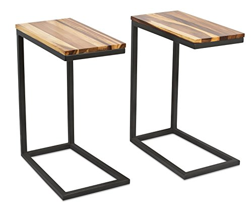 BIRDROCK HOME Acacia Wood TV Tray Side Table | Set of 2 | Industrial Design | Natural Wood Bed Sofa Snack End ()