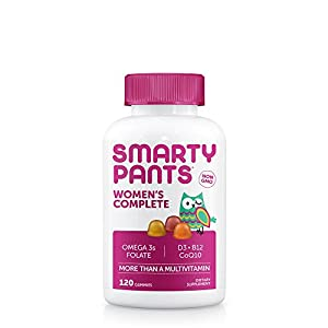 SmartyPants Women's Complete Gummy Vitamins: Multivitamin, CoQ10 & Omega 3 Fish Oil (DHA/EPA Fatty Acids), 120 COUNT, 20 DAY SUPPLY