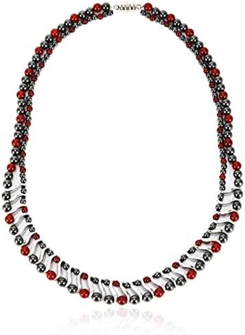 Elegant Womens Hematite Magnetic Therapy Necklace With Healing Stones Pain Relief for Neck Arthritis Migraine Headaches Shoulders And Back (Regular, Red Agate)