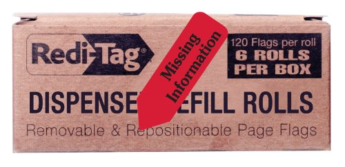 Redi-Tag Missing Information Printed Arrow Flags, 6 Roll Refill, 120 Flags per Roll, 1-7/8 x 9/16 Inches, Red (91039)