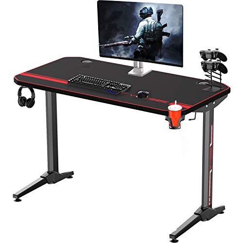(Vitesse Gaming Desk Racing Style Computer Table with Free Mouse pad, T-Shaped Professional Gamer Workstation PC Office Desk with Cup Holder & Headphone Hook(47''))