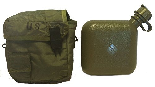 warren575757 OD Green Military Issue New 2 Quart Water Canteen with G. I. Issue used cover