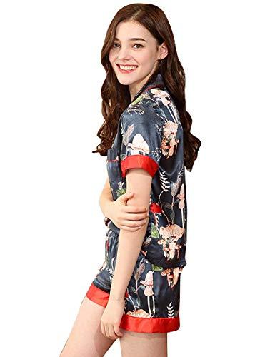 Conjunto Albornoz Elegante Manga Pantalones Clásico Moda Camisas Verano V Camisones Vintage Pedazos Blau Impreso Corta Pijama Mujer cuello 2 De Pijamas Ocasional Button fq4rwf