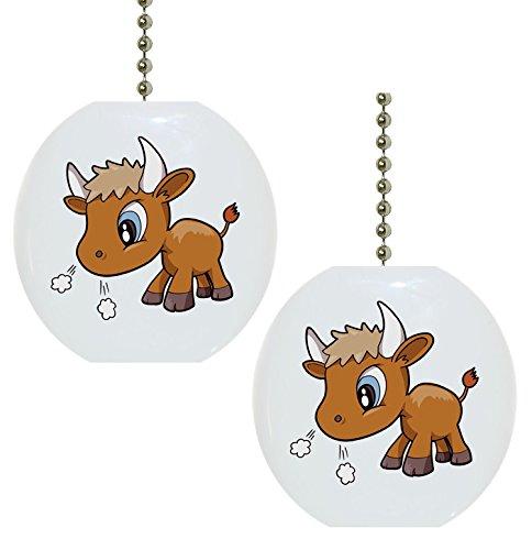 Set of 2 Baby Bull Big Eyes Farm Animal Solid Ceramic Fan Pulls