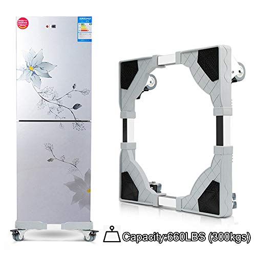 (Adjustable Washing Machine Mobile Bases Refrigerator Undercarriage Bracket Stand with Wheels Pedestal Base Tray Dolly Laundry Washer Bracket for Samsung LG GE (4 Set Double Wheels))