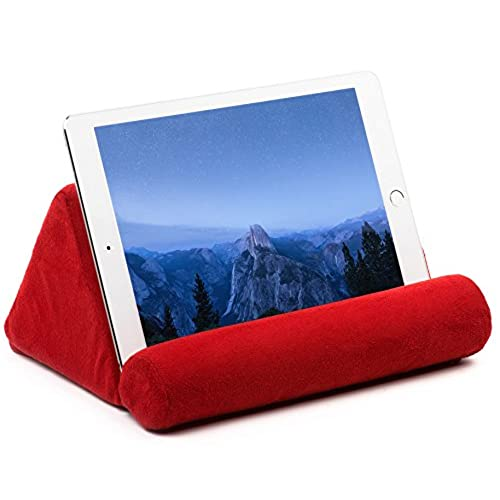 Tablet Pillow For Galaxy And IPad, Plush Microfiber Mini Tablet Computer  Holder Sofa Reading Stand, Self Standing Or Use On Lap, Bed, Sofa, Couch.  Color Red
