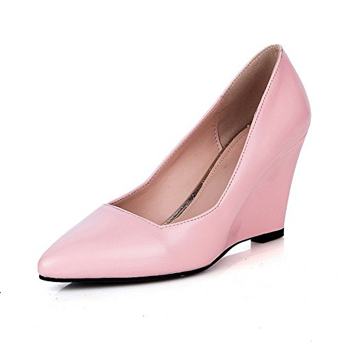 Balamasa Womens Pull-on Puntige Teen Geïmiteerd Lederen Pumps-schoenen Roze
