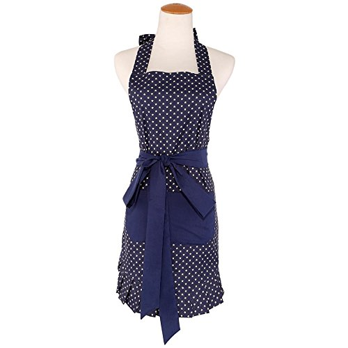 G2Plus Apron for Women with Pockets, Extra Long Ties, Cotton Apron, Perfect for Kitchen Cooking, Baking and Gardening, 29 x 21 - inch (Blue Ground with White Star Pocket)