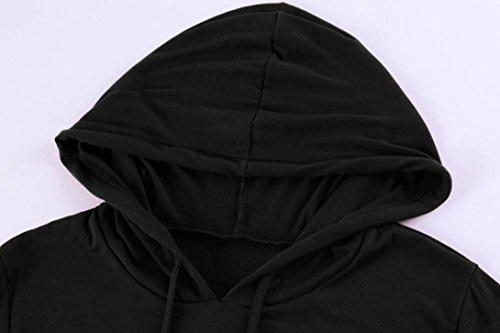 da Tasca donna Nero con Sottile Lunghezza Felpa Vestiti ginocchio Vestito casual al Pullover Riou cappuccio Felpa Exqw1a41