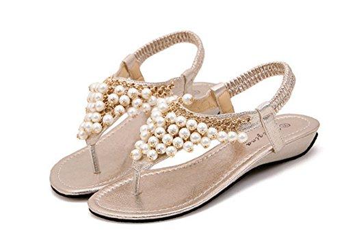 Aisun Damen Süß Metall Künstliche Perlen Elastisches Band Keilabsatz Zehentrenner Sandale Champagner 36 EU AptlkkDFO