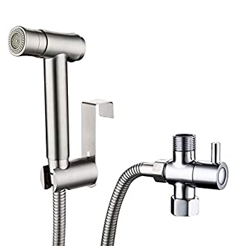 Handheld Bidet Sprayer Set Free Press 2 Modes for Toilet with 7/8 T-adapter and Bracket 304 Stainless Steel Bathroom Replacement Bling