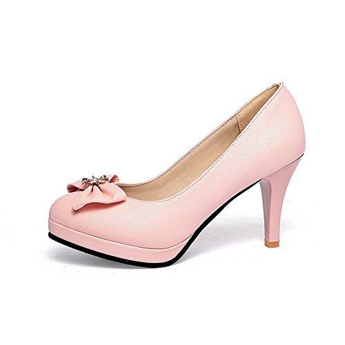 scarpe Su Rosa Pompe Pu Allhqfashion Chiusa Tirare Solidi Rotonda Tacchi Donne Punta qv76PBTw
