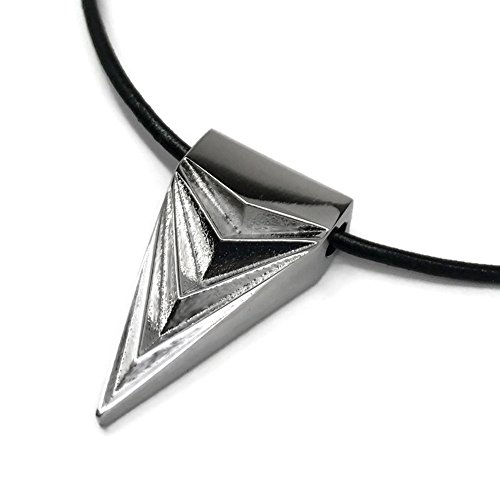 - Loralyn Designs Stainless Steel Arrowhead Spike Necklace for Men Women Genuine Leather Cord (18 inch)