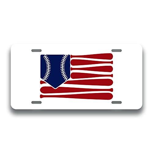 Baseball Softball American Flag Printed Vanity Front License Plate Tag KCFP111