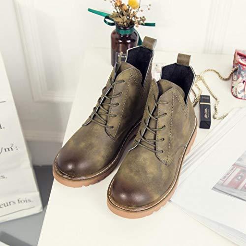 Botte à Basse Bout Armée en Cheville Femmes Femmes Bottes Chaussures Bottines Casual Verte Plates BaZhaHei Cuir Rond Martin zSqpZ