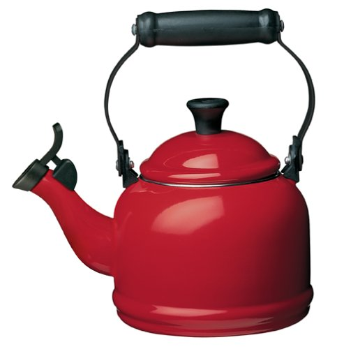 Le Creuset Enamel-on-Steel Demi 1-1/4-Quart Teakettle, Cerise (Cherry Red)