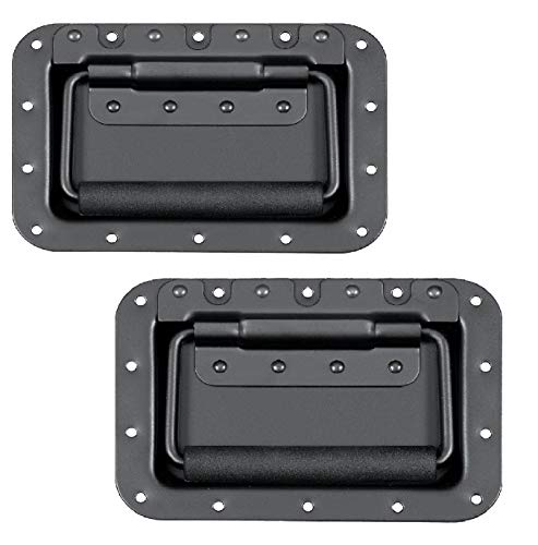 MIYAKO USA Set of 2 Spring Loaded Speaker Cabinet Handles 7x5 inches with recessed Back Black Metal (1 Pair)