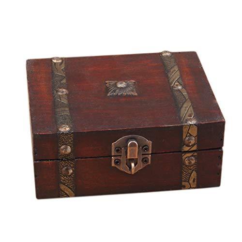 PUAO Small Vintage Jewelry Box, Ancient Oriental Tiny Treasure Lock Storage Handmade Wooden Jewelry Storage Box Case (Red, 13cm(L) 12cm(W) 5.4cm(H))