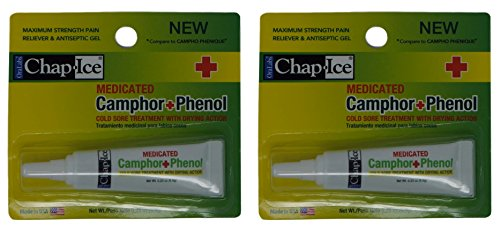Medicated Camphor Phenol 2 tubes - Cold Sore treatment with Drying Action (.23 oz each)