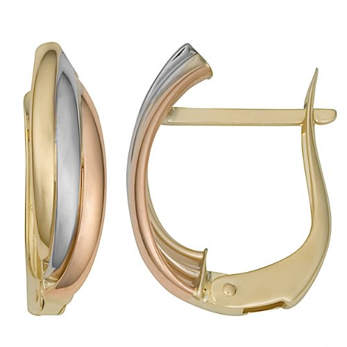 - Kooljewelry 10k Tricolor Gold Omega Back Hoop Earrings