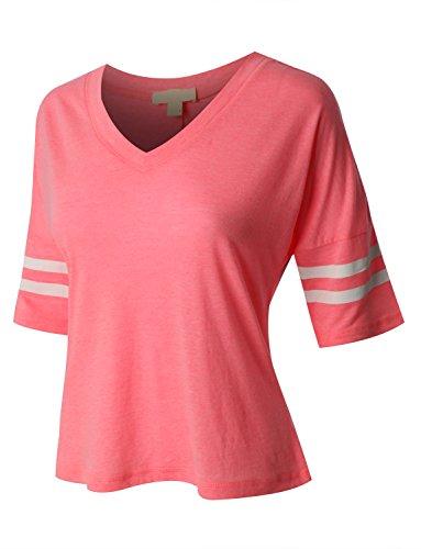 RubyK Womens Cropped 3/4 Sleeve Baseball (Cropped T-shirt Jersey)
