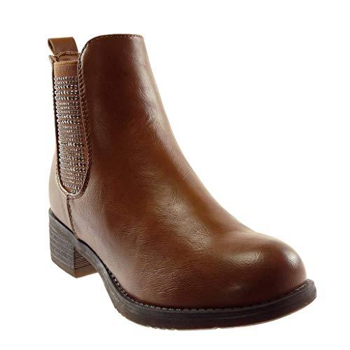 Boots Scarponcini Moda Cavalier Blocco Chelsea Stivaletti Foderato Donna Di Cammello on Strass Scarpe Pelliccia Elastico A Cm Alto Slip Tacco Angkorly 4 qXtw5pnB5x