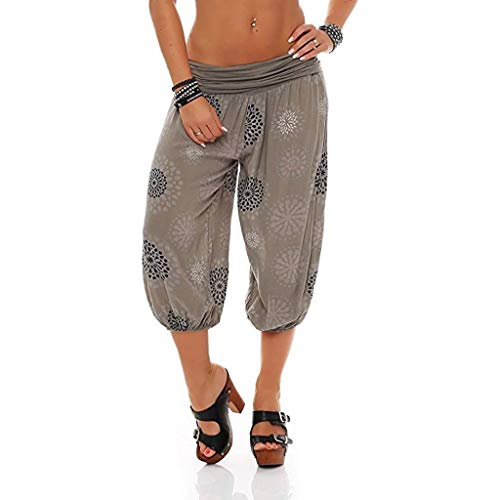 Pervobs Women Pants, Women Summer Elastic Waist Boho Check Pants Baggy Wide Leg Plus Size Yoga Capris Cropped Trousers(XL, Z04-Khaki)