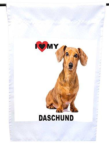 Rikki Knight I Love My Brown Daschund Dog House or Garden Flag, 12 x 18-Inch Flag Size with 11 x 11-Inch Image