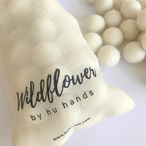 "Natural White 1"" - 2.5cm - 100% Handmade Wool Felt Pom Poms - (50) Pure New Zealand Wool Felt Balls - DIY Pompoms - Drawstring Muslin Bag WPP004"